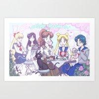 enerjax Art Prints featuring Sailor Tea Time by enerjax