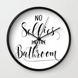 No selfies in the bathroom, Bathroom wall decor, bathroom art, PRINTABLE art, Funny bathroom art, Bathroom signs, Kids bathroom decor, Bathroom prints Wall Clock