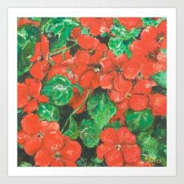 Red impatiens painting Art Print