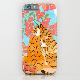 Tiger Honeymoon Illustration, Wildlife Floral Botanical Painting, Full Moon Cats Bougainvillea iPhone Case