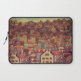 Cute City Street Scene ,Many Houses Laptop Sleeve