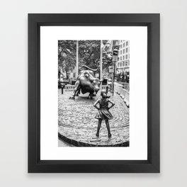 Fearless Girl & Charging Bull in the rain Framed Art Print