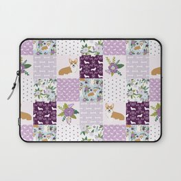 Corgi Patchwork Print - purple ,florals , floral, spring, girls feminine corgi dog Laptop Sleeve