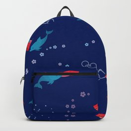 Blue Dolphin and Red Shark Olympic Backpack