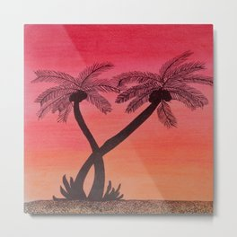 Dusk and the palm trees Metal Print