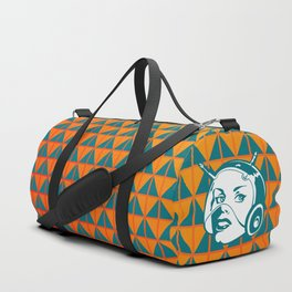 Faces: SciFi lady on a teal and orange pattern background Duffle Bag