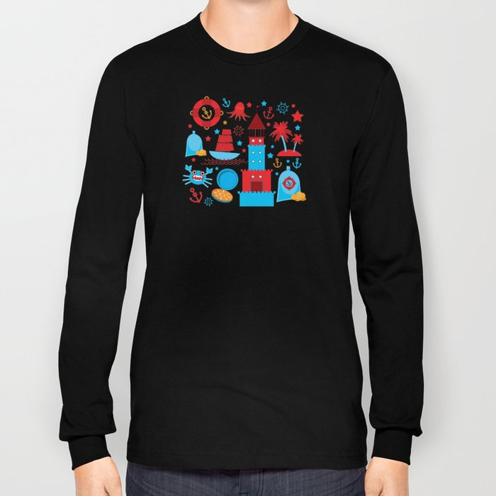 pattern with sea icons on white background. Seamless pattern. Red and blue Long Sleeve T-shirt