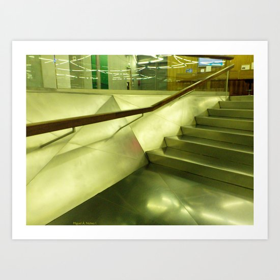 Inside: steel, glass and stairs. Art Print