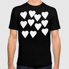 Mint Hearts Black MEDIUM Mens Fitted Tee