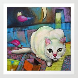Luna - crouching cat, hidden cat Art Print