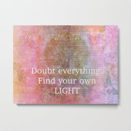 Find your own light Buddha quote with nature art Metal Print