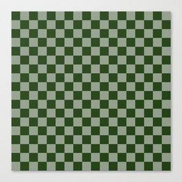 Large Dark Forest Green Checkerboard Pattern Canvas Print