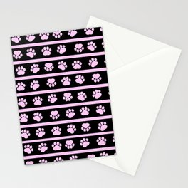 Dog Paws, Traces, Paw-prints, Stripes - Pink Black Stationery Cards
