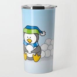 Little penguin sitting with snowballs Travel Mug