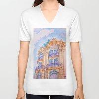 art nouveau V-neck T-shirts featuring art nouveau by Tereza Del Pilar