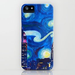 Painting Starry night in new york vincent van gogh iPhone Case
