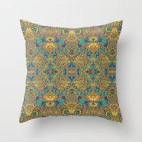 arabic Throw Pillows featuring Arabic Marigold by GEETIKAGULIA