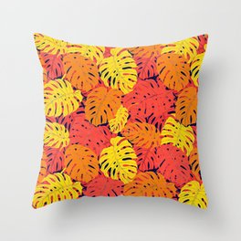 Modern tropical summer yellow orange red cheese leaves floral Throw Pillow