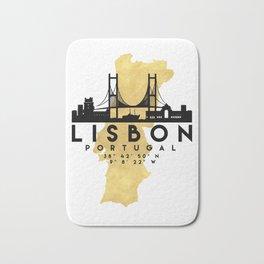 LISBON PORTUGAL SILHOUETTE SKYLINE MAP ART Bath Mat