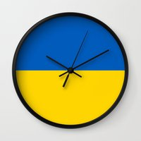 ukraine Wall Clocks featuring Flag Of Ukraine by Neville Hawkins