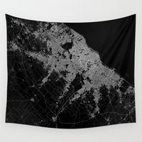 poland Wall Tapestries featuring Warsaw map poland by Line Line Lines
