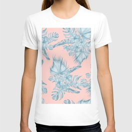 Dreaming of Hawaii Pale Teal Blue on Millennial Pink T-shirt