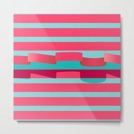 Ribbon stripe - Pink Metal Print