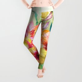 Tropical Hibiscus Garden Leggings