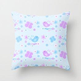 Chickadee Bird Butterfly Floral Purple Lavender Blue Throw Pillow