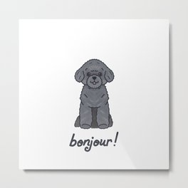 Say Bonjour - Silver Toy Poodle - Boo Metal Print