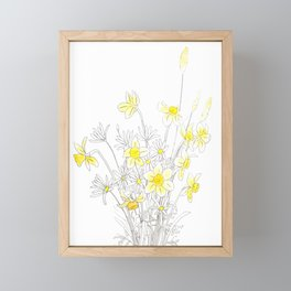 white daisy and yellow daffodils ink and watercolor Framed Mini Art Print
