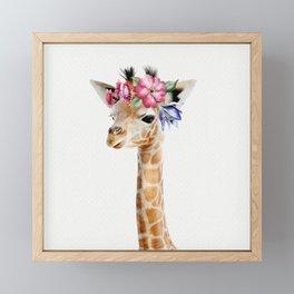 Baby Giraffe with Flower Crown Framed Mini Art Print