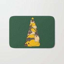 Christmas Tree Pugs Bath Mat
