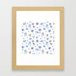 Elegant lavender brown watercolor honey bee floral Framed Art Print