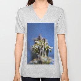 Ivory Hesperaloe Parviflora Flower On Brilliant Sky Blue Unisex V-Neck
