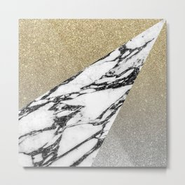 Silver Gold Glitter and Marble Geometric Pattern Metal Print