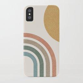 Mid Century Colorful Sun & Rainbow iPhone Case