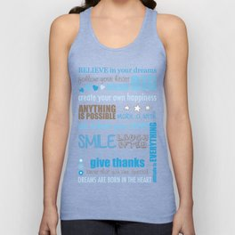 Quote Collage In Blue Unisex Tank Top