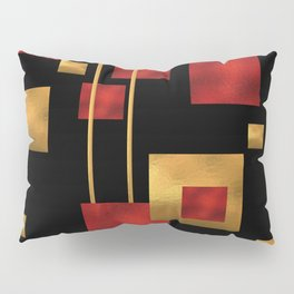 Red and Gold Foil Blocks Pillow Sham