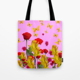 DECORATIVE YELLOW BUTTERFLIES, RED ROSES, DAFFODILS SPRING FLOWERS Tote Bag