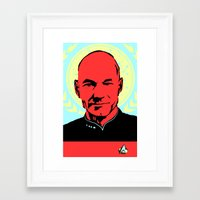 picard Framed Art Prints featuring Captain Jean Luc Picard by Chadventure