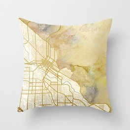 Boise Watercolor Map Throw Pillow