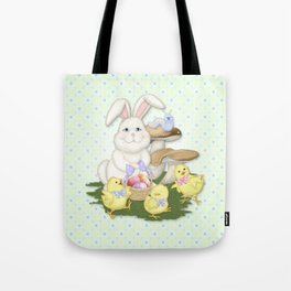 White Rabbit and Easter Friends Tote Bag
