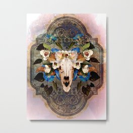 Southwest Sheep Skull and Flowers Metal Print