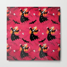 Unicorn Vampire Pattern Metal Print