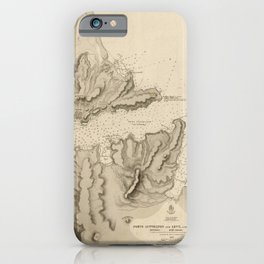 Vintage Map Print - Admiralty Chart No 1999 Ports Lyttelton, Levy and Pigeon, 1849 iPhone Case