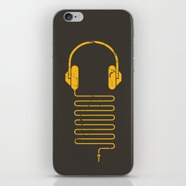 Gold Headphones iPhone Skin