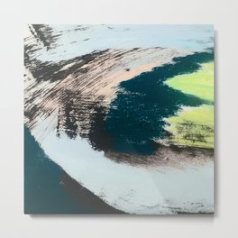 Imagine: a minimal, mixed media piece in black, white, blue, teal, yellow, and peach Metal Print