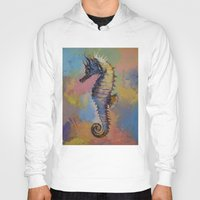 seahorse Hoodies featuring Seahorse by Michael Creese