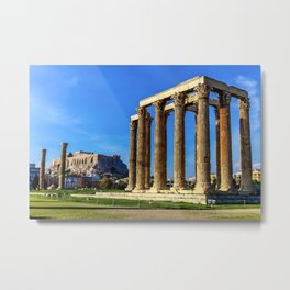 ruins of ancient temple of Zeus, Athens, Greece, HDR photo Metal Print